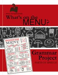 parts of speech practice create a menu middle grammar tpt