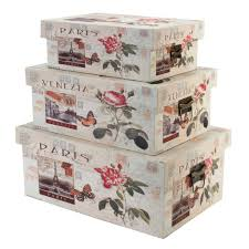 Decorative Floral Storage Boxes Wooden Shabby Chic — The Home