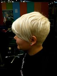 very short in back and very long in front hair blonde pixie very long bangs very short back i like but