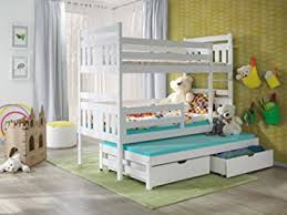 BUNK BEDS MEGGI FT WHITE WOODEN CHILDREN TRIPLE BUNK BEDS WITH - Triple bunk beds with mattress