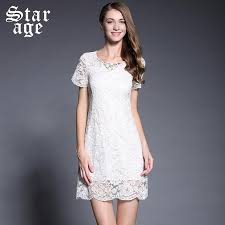 white lace dress with sleeves knee length m brand luxury white lace dress summer fashion