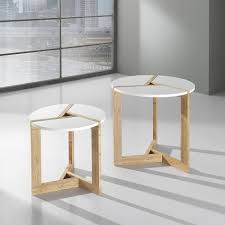round wooden 2 piece coffee table set warm by tomasucci home
