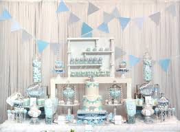 baby blue and gray elephant baby shower dessert table and candy