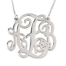 silver monogram necklace monogrammed necklace