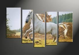 Horse Home Decor by 4 Piece Blue Canvas Horse Wildlife Wall Decor