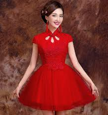 Chinese Wedding Dress Red Lace Top Tulle Skirt Chinese Wedding Dress With Mandarin