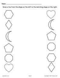 free shapes matching worksheets match the missing half shapes