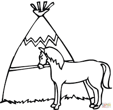 wigwam with the horse coloring page free printable coloring pages