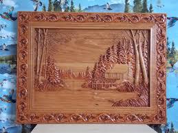 wood wall art log cabin decor wood carving wall art wood wall