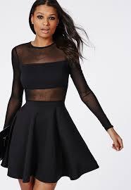 black skater dress missguided mesh insert sleeve skater dress black where to