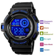 Discount Military Watch Mens Watches For Men Multifunction Sports Waterproof Led 2 Amazon Com Mens Digital Sports Watch 50m Waterproof Sport