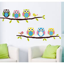 owl wall sticker on the branch cute owl wall sticker on the branch