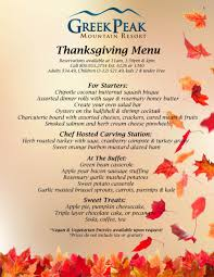 thanksgiving thanksgiving menu peak mountain resort lesson