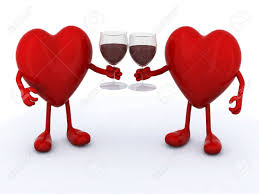 cartoon wine glass cheers two red hearts with arms and legs make cheers with glasses of
