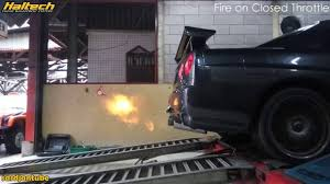 nissan skyline r34 gtt making fire haltech ecu youtube