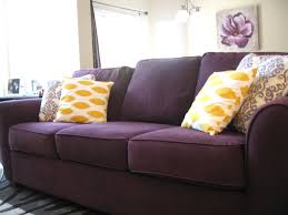 Living Room With Purple Sofa Purple Hearts Yellow Purple Throw Pillows And Pillows