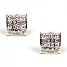 mens earrings yellow gold 0 17 ct diamond square stud mens earrings