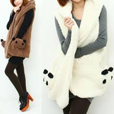 panda sweater autumn winter panda fleece waistcoat sweater jacket