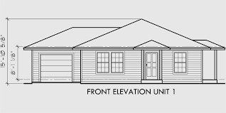 house front drawing elevation view for d 392 single story duplex