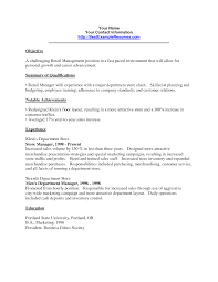 Sample Objectives On Resume Cover Letter Resume Example Retail Store Manager Resume Examples