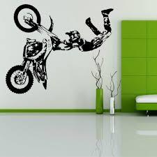 online get cheap motocross wall murals aliexpress com alibaba group vinyl motocicletta giochi motocross dirt bike wall sticker diy art motobike rollover show wall mural