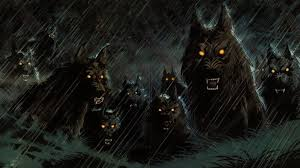 halloween night background dark scary wolfs halloween night