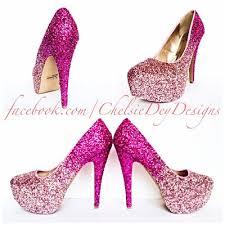 Light Pink Wedding Shoes Glitter High Heels Pink Pumps Light Pink Ombre Platform