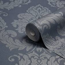 graham u0026 brown gothica navy u0026 silver damask metallic wallpaper