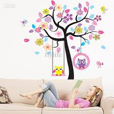 large tree and flowers wall stickers cute owls decor decals large tree and flowers wall stickers cute owls decor decals removable kids room