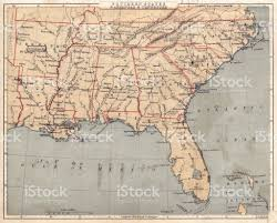 Map Of Georgia And Florida by Map Of Usa Southern States 1869 Stock Vector Art 586079086 Istock