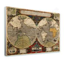 World Map Antique by World Map Antique Old Vintage V2 Canvas Posters Prints