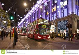 christmas street decorations in london editorial stock photo