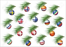 european countries flags sheres on branches of christmas tree