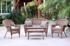 4 Piece Wicker Patio Furniture - 4 piece white resin wicker patio furniture set 2 chairs loveseat