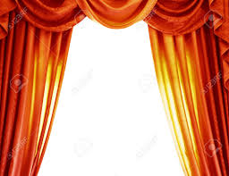 luxury orange curtains isolated on background abstract