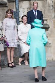 kate middleton curtsies to the queen in perfect easter ensemble