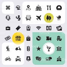 city life gudie and map icons set stock vector art 823528820 istock