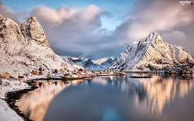 Winter Houses Winter Houses Clouds Norway Mountains Lofoten Reine Village