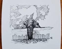 elephant sketches etsy