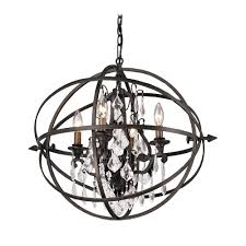 Crystal And Bronze Chandelier Orb Crystal Chandelier Pendant Light In Bronze Finish F2995