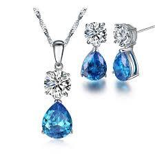 blue zircon jewelry necklace images Cubic zirconia blue zircon ocean blue water drop earrings and jpg