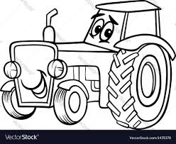 tractor cartoon for coloring book royalty free vector image