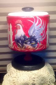 rooster canister on pedestal up cycled vintage