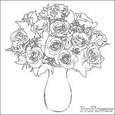 Drawings Of Flowers In A Vase Rose Coloring Pages For Kids Proflowers Blog
