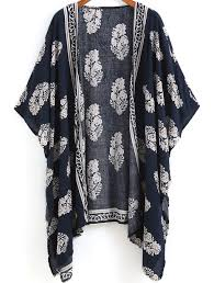 patron veste kimono kimono décontracté floral bleu marine compagnie tenue et vêtements
