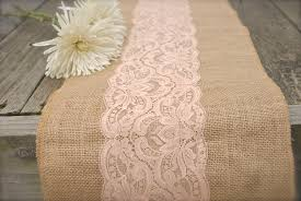 gold burlap table runner with table ruuner on old