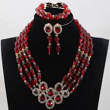 bridal indian necklace set images Wine african beads crytal rhinestone pendant necklace set burgundy jpg
