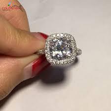 wedding rings size 11 aliexpress buy colrofish brilliant 3 carat cushion cut halo