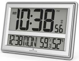marathon watch company jumbo atomic wall clock with table stand batteries included color silver
