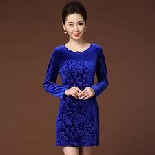 2017 spring middle aged women corduroy dress long sleeve print